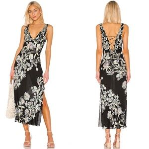 Free People Never Too Late Maxi Dress in Black M